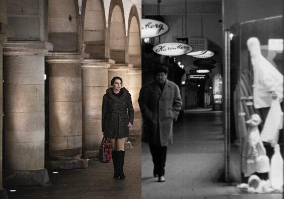 """Heute: Marina Weisband als Inge Deitert und damals: Johannes Schaaf als """"Spezie"""". (Foto: Schamoni-Film/Maris Hartmanis)"""
