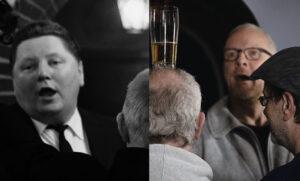 """In der Kreustr. 14 damals (v.l.n.r.): Helmut Ludwig als Gerd, Helmut Müller als Lutz, Johannes Schaaf als """"Spezie"""" und Hans Dieter Schwarze als Hannes Lücke. In der Kreustr. 14 heute (v.l.n.r.): Claudia Husmann als Gerd, Johannes Wilbrand als Lutz, Jens Schneiderheinze als """"Spezie"""" und David Kluge als Hannes Lücke. (Foto: Schamoni-Film/Maris Hartmanis)"""